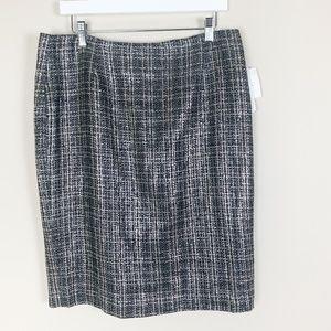 NWT Liz Claiborne Brown Tweed Pencil Skirt Size 12